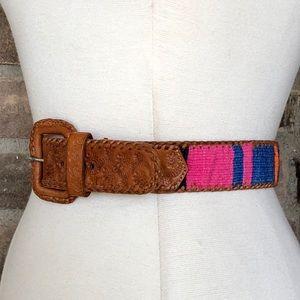Lands' End Belt Leather Western Tooled Vintage